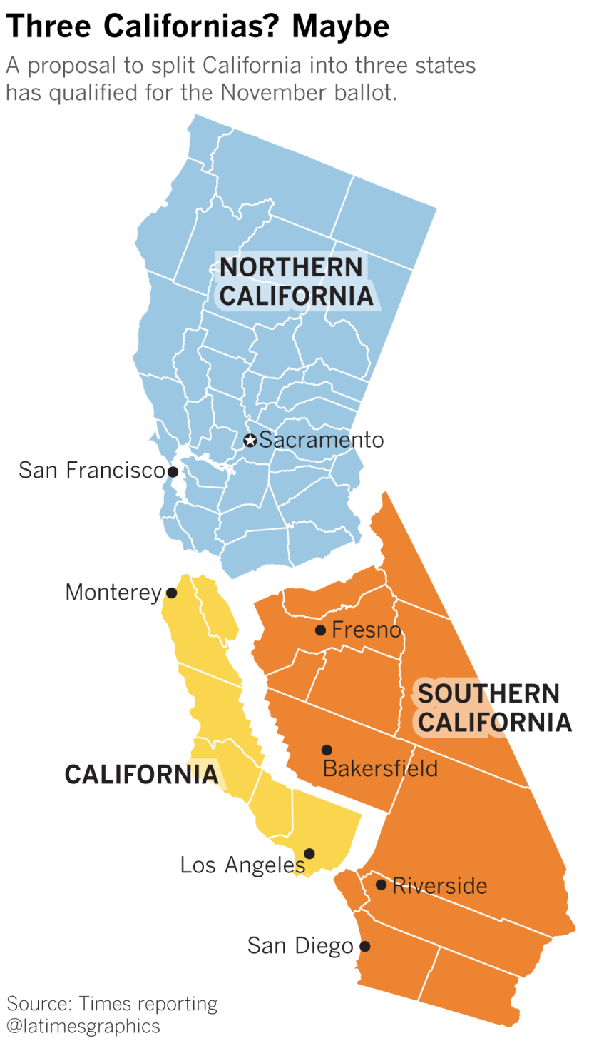 Radical Plan To Split California Into Three States Earns