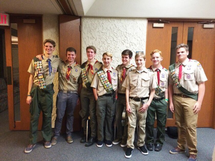 Eagle Scout William Burnett of Rancho Santa Fe, at far left, with the rest of his troop.