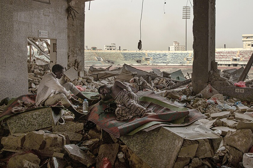 A shelter at a soccer stadium in Aden, Yemen.