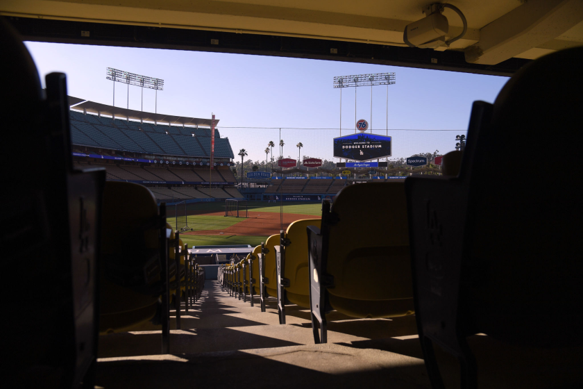A view of the field and empty seats at Dodger Stadium.