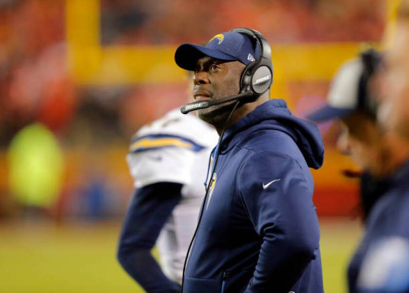 Chargers coach Anthony Lynn watches from the sideline during the game against the Kansas City Chiefs on Dec. 13.