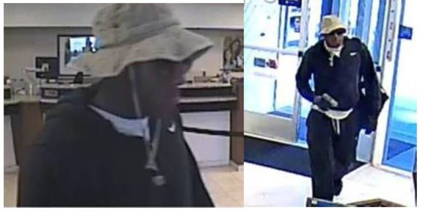 """Surveillance photos show a gun-toting man robbing tellers at a Hillcrest bank on June 28. Prosecutors have charged a 31-year-old San Diego man in connection with the robbery, saying he also threatened to """"shoot up"""" the San Diego Pride Parade last week."""