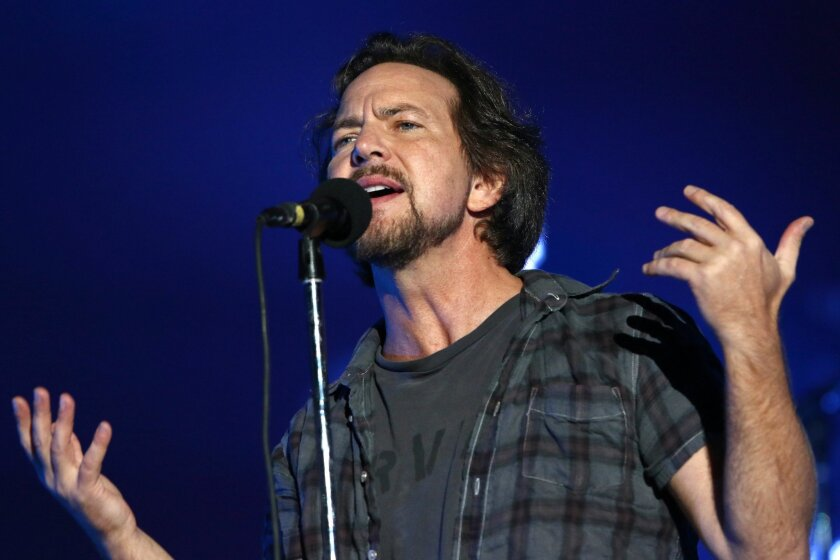 In this Sept. 26, 2015 file photo, Eddie Vedder of Pearl Jam performs at the Global Citizen Festival in New York.