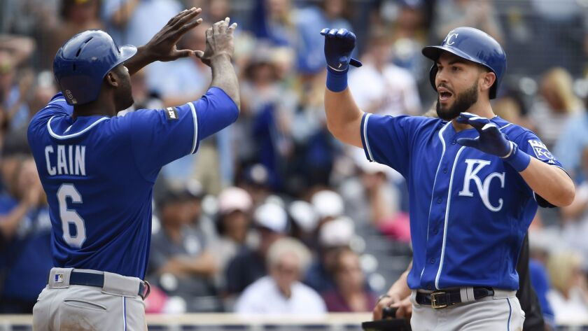 The Royals' Eric Hosmer, right, is congratulated by Lorenzo Cain after hitting a two-run home run during the eighth inning of a baseball game against the San Diego Padres at Petco Park on June 10, 2017 in San Diego.