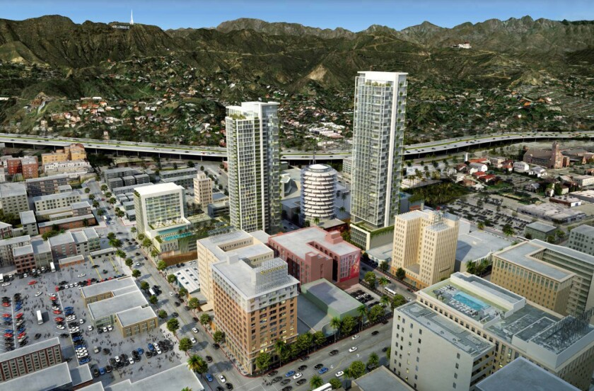 "Los Angeles activists are seeking to impose new limits on ""mega projects"" such as the proposed Millennium skyscraper project in Hollywood."