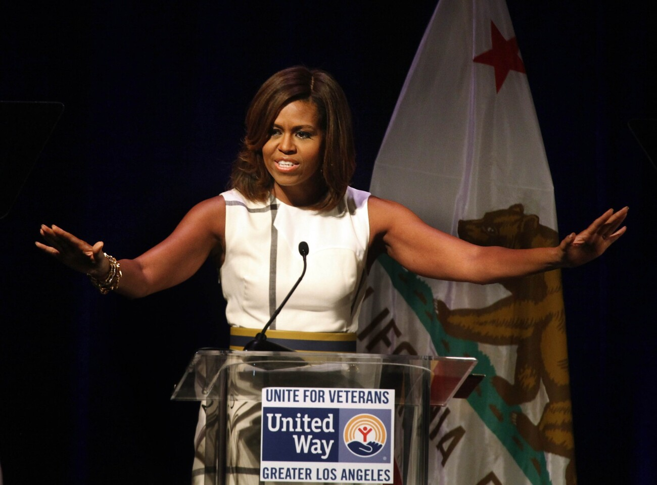 First Lady Michelle Obama delivers the keynote address at the Unite for Veterans Summit, which brought together local, state and federal officials as well as business leaders and community stakeholders to highlight efforts to help veterans, at the Hyatt Regency Century Plaza.