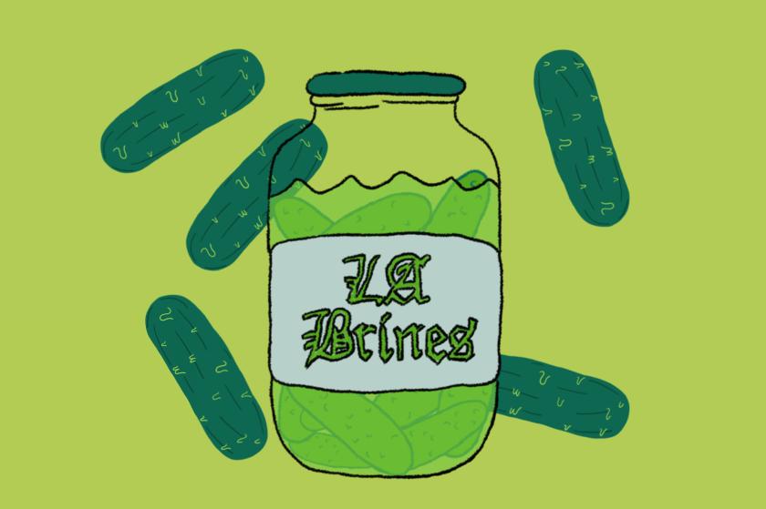 """Illustrated jar of """"LA Brines"""" pickles"""