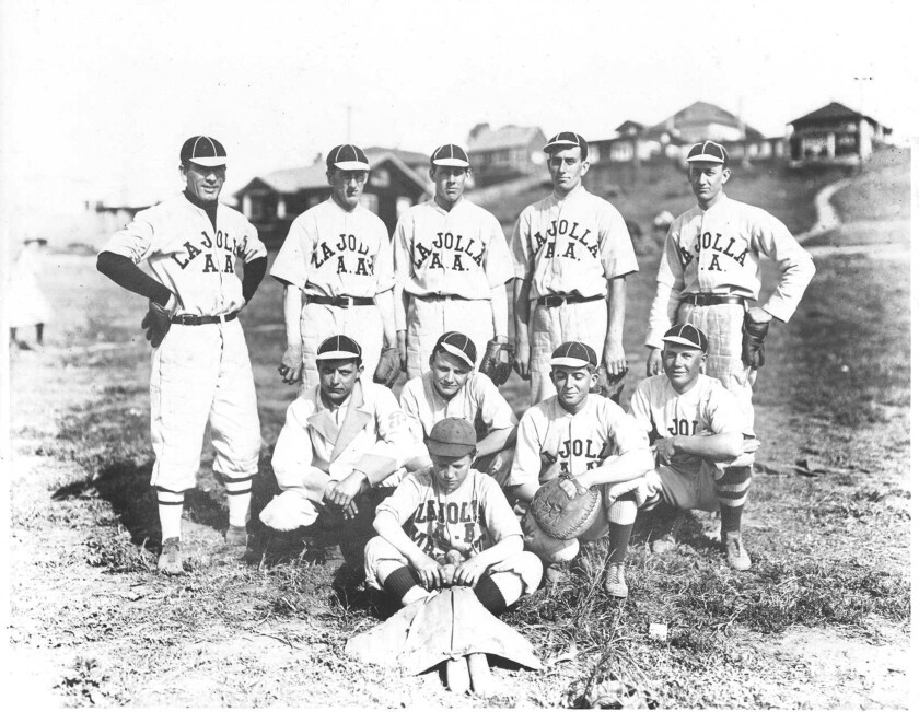 La Jolla's A.A. Baseball Team, circa 1913. Among the players: Gregory Peck Sr. (top left), Fred Wetzell, Harold Wetzell, Willy H. Wetzell, Herman Curtis, Ben Genter, Anthony Mangan.