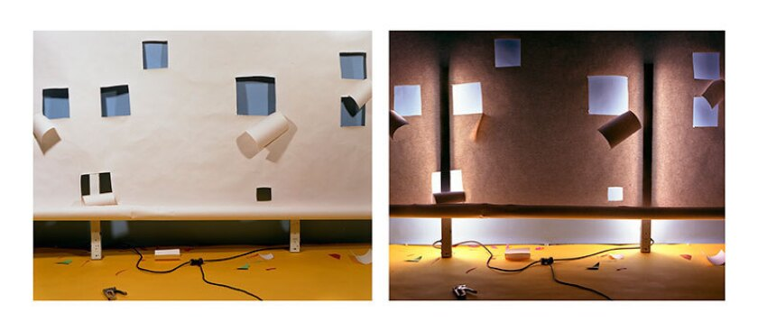 """David Haxton, """"(No. 49) Random Square Holes in White Over Blue and Yellow Lit from Front and Back,"""" 1978."""