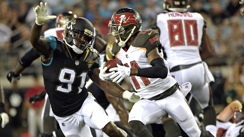 Tampa Bay Buccaneers wide receiver DeSean Jackson (11) looks for room to get by Jacksonville Jaguars