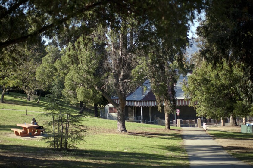Step 1: Begin the walk at the parking lot off Crystal Springs Drive that serves the park's merry-go-round.