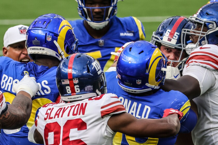 The Rams and Giants scuffled during the game, here in the third, quarter, and after it Sunday.