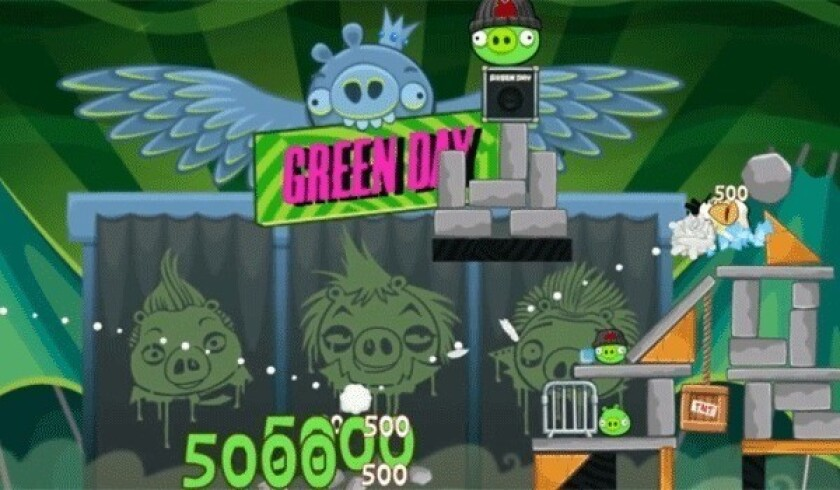 """A screen shot of Green Day's """"Angry Birds Friends"""" edition."""