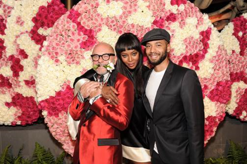 From left, Eric Buterbaugh, Naomi Campbell and Jussie Smollett at the grand opening celebration of Eric Buterbaugh Florals in Los Angeles on June 4.