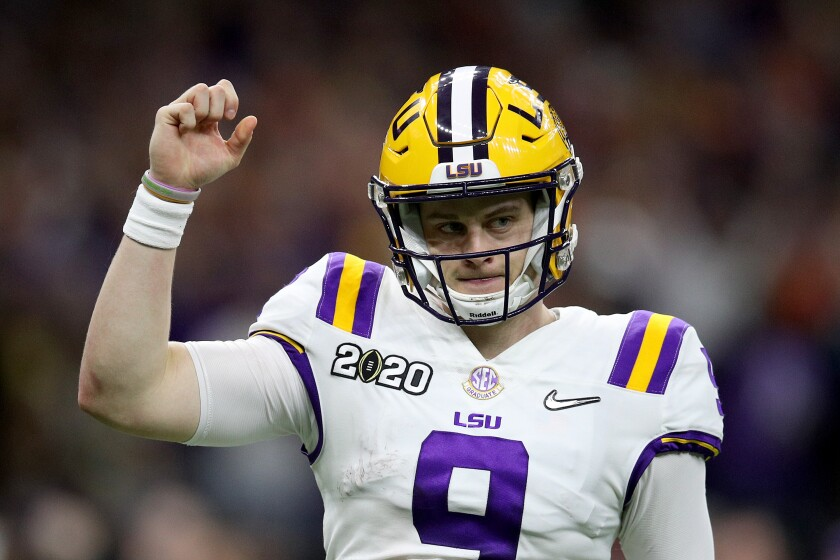 LSU's Joe Burrow goes from underdog to top dog in NFL draft - Los ...