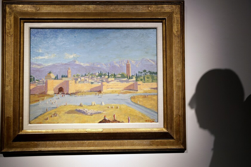 An oil on canvas painting by Sir Winston Churchill called 'Tower of the Koutoubia Mosque' is displayed