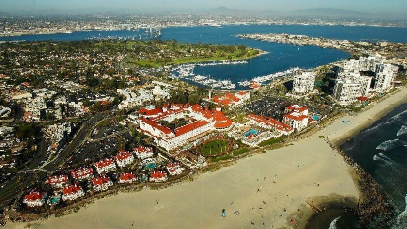 The Hotel Del Coronado sits along Coronado Beach, often ranked among top beaches for visitors.