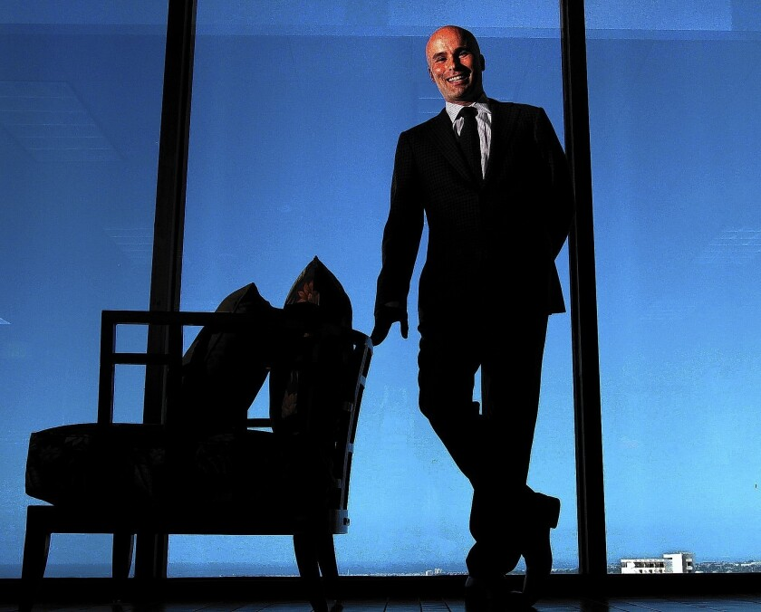 "Acacia Research Chief Executive Matthew Vella says his firm's clients often can't afford to hire specialists who will help monetize their patents. ""They are not looking to sell them necessarily, but if they are looking to get money because people are infringing their patents, we want to be their partner,"" he says. Above, Vella at his Newport Beach office."