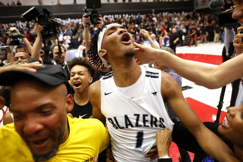 Sierra Canyon's Ziaire Williams celebrates in the CIF Open Division regional final March 10.