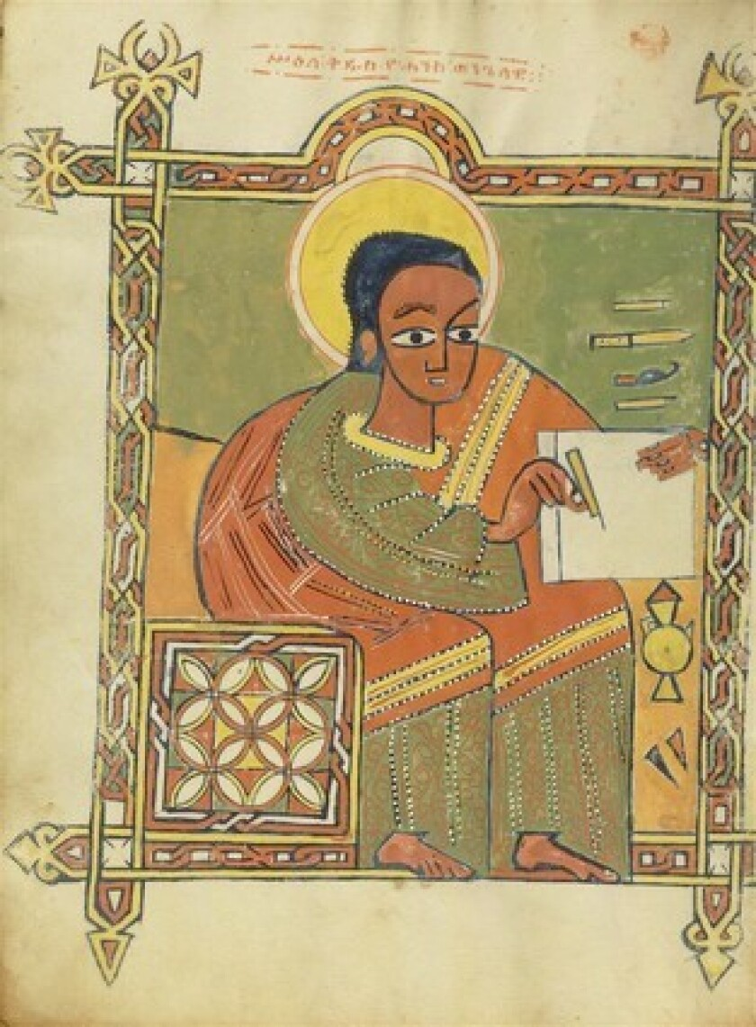 St. John is depicted in a 16th century Ethiopian Gospel book.