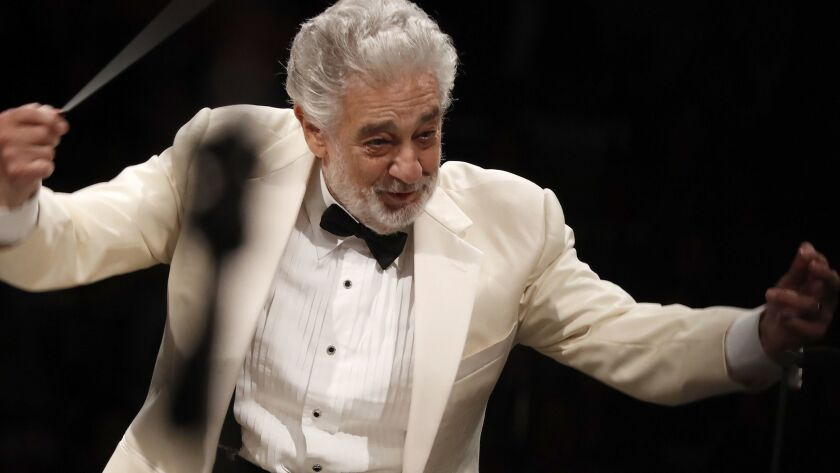Plácido Domingo conducts music from Spain with the Los Angeles Philharmonic Orchestra at the Hollywood Bowl on Thursday night.