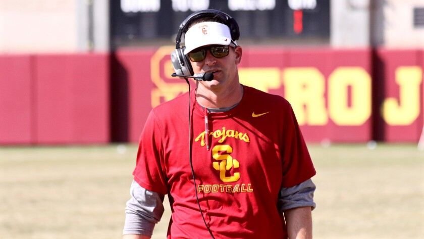 Former USC defensive coordinator Justin Wilcox calls a play during a fall scrimmage at Howard Jones