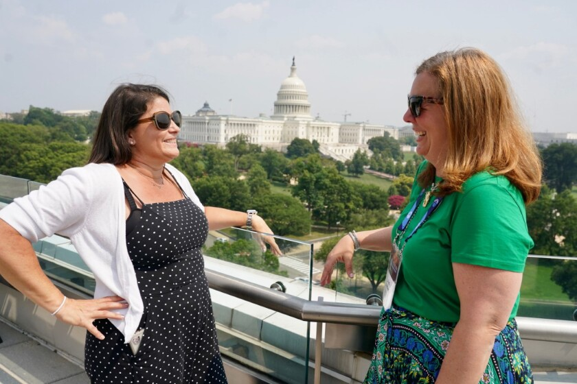 San Diegan Kira Finkenberg, and Jodi Miller, of Philadelphia, spoke to Congress members about growing antisemitism.