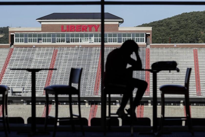 The Liberty University football team dining room inside Williams Stadium.