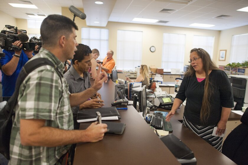 Kentucky county clerk refuses to issue marriage licenses