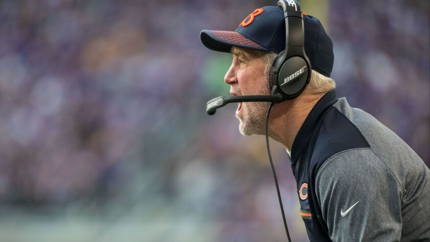 Chicago Bears head coach John Fox looks on during the third quarter against the Minnesota Vikings at U.S. Bank Stadium.