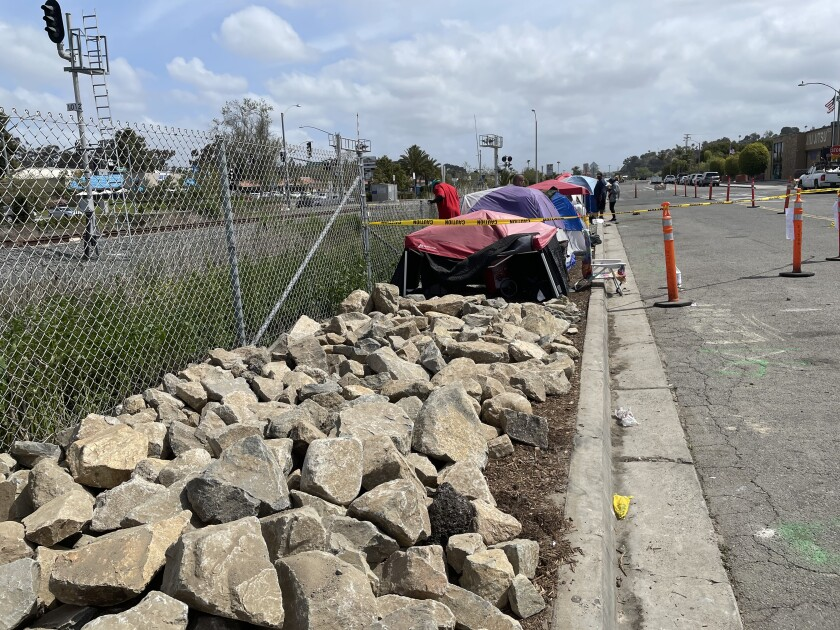 A photo from April shows the few remaining tents alongside South Oceanside Boulevard after an encampment was cleared.