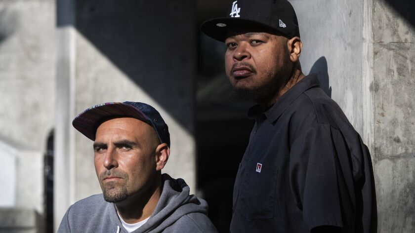 LOS ANGELES, CA-JANUARY 30, 2019: Thes One (Chris Portugal), left, and Double K (Michael Turner), of