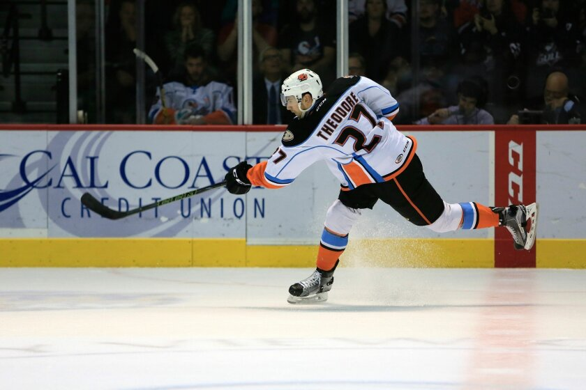 Gulls defenseman Shea Theodore takes a shot at goal in a game earlier this season. The Gulls play Game 4 of their second-round playoff series against the Ontario Reign on Friday at 7:05 p.m. at the Valley View Casino Center.