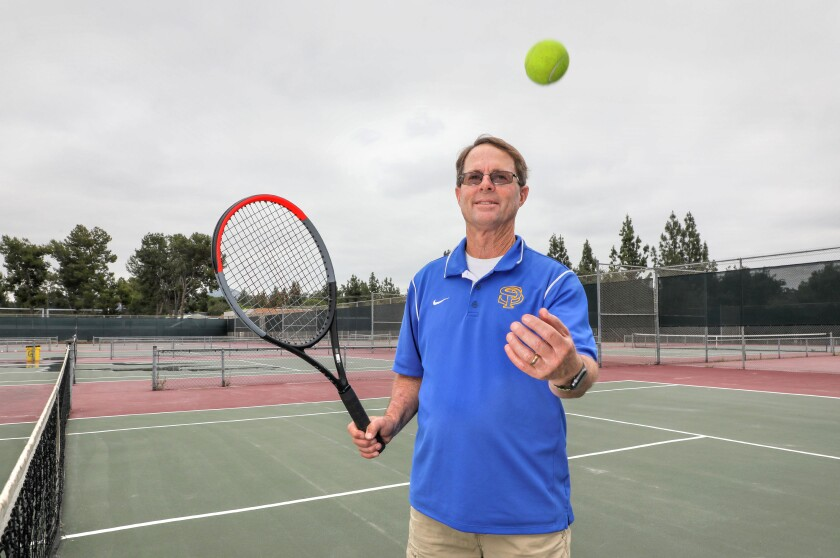 Portrait of Ron Peet, math teacher and tennis coach for many years at San Pasqual High School, on his last day of work.