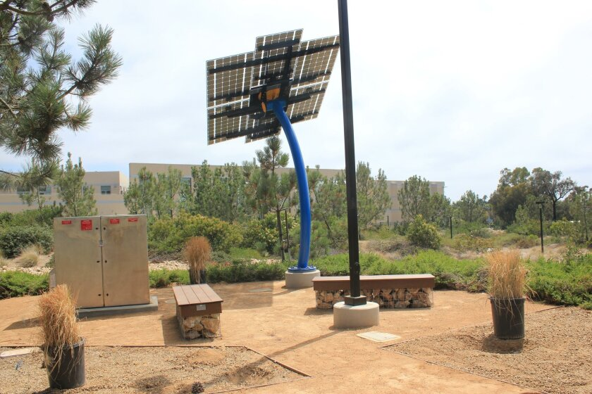 The 'Solar Chill' station provides clean energy to charge lap tops, tablets and mobile devices.