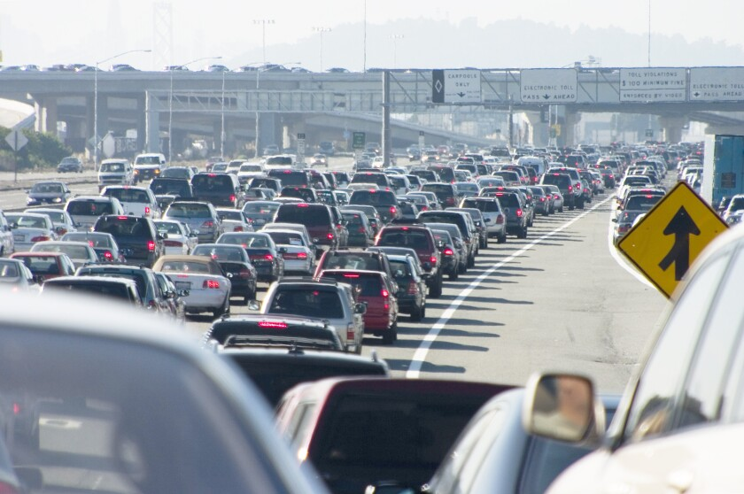 Rush-hour traffic.