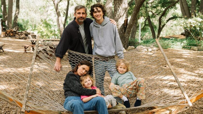 "Steve Carell, Timothee Chalamet, Maura Tierney, Oakley Bull and Christian Convery in ""Beautiful Boy."""