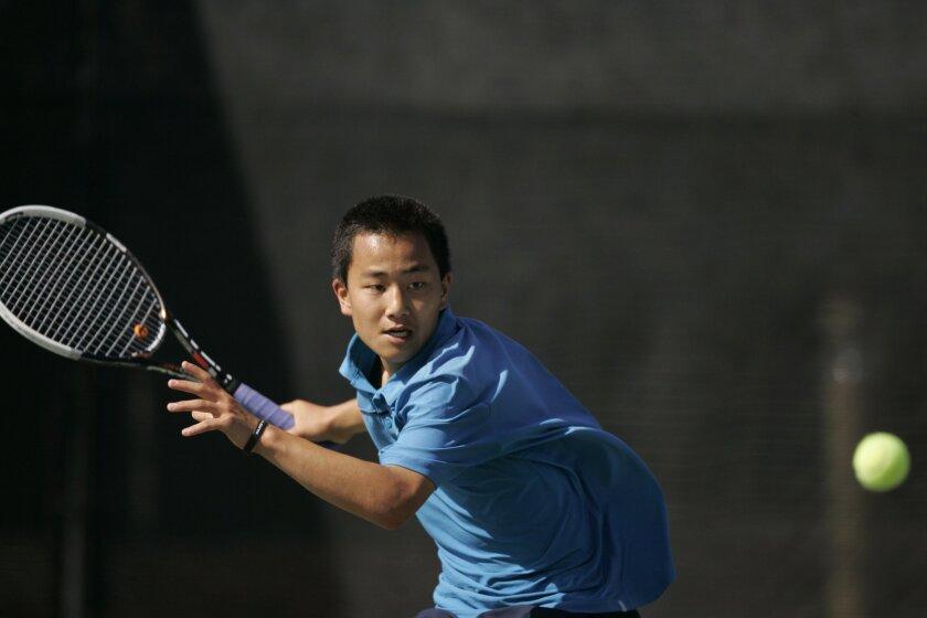 Aiku Shintani returns a shot for Rancho Bernardo.