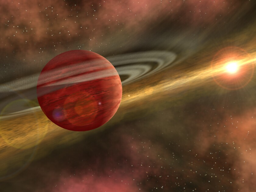 An artist's conception of a young planet in a distant orbit around its host star. The star still harbors a debris disk, remnant material from star and planet formation, interior to the planet's orbit.