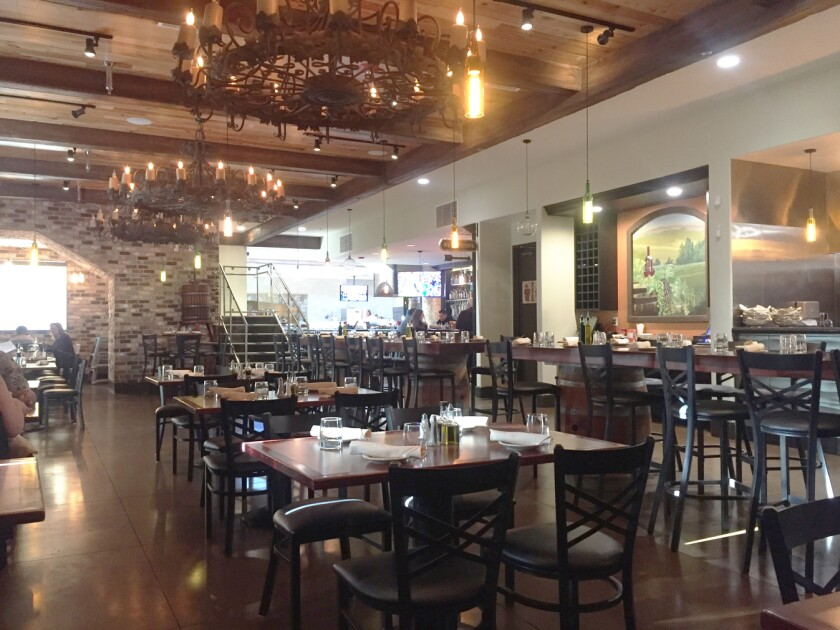 The dining room of the new enoteca at Ciao Ristorante Italiano dining complex in Vista.