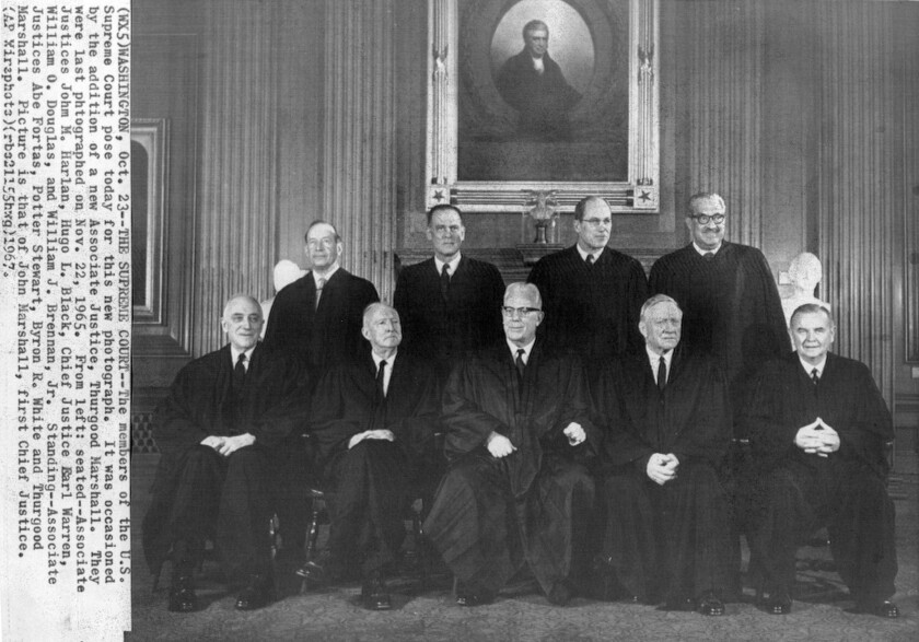 Washington, Oct. 23 1967 The Supreme Court The members of the U.S. Supreme Court Pose today for this