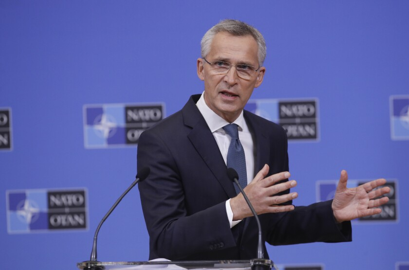 NATO Secretary General Jens Stoltenberg speaks during a press briefing ahead to an online NATO Foreign and Defense Ministers' meeting at the NATO headquarters in Brussels, Monday, May 31, 2021. (Olivier Hoslet/Pool Photo via AP)