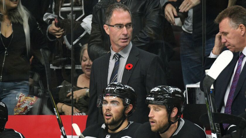 Los Angeles Kings coach John Stevens looks on during a game against the Tampa Bay Lightning.