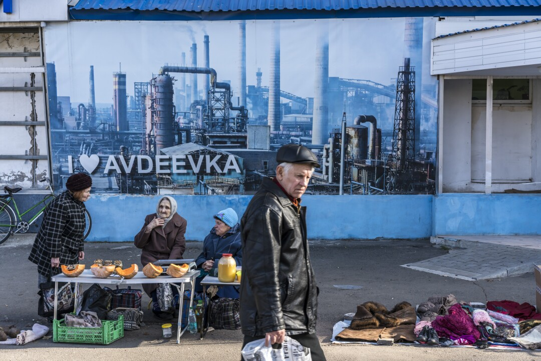 A street market at the Avdiivka Central City Hospital in Ukraine
