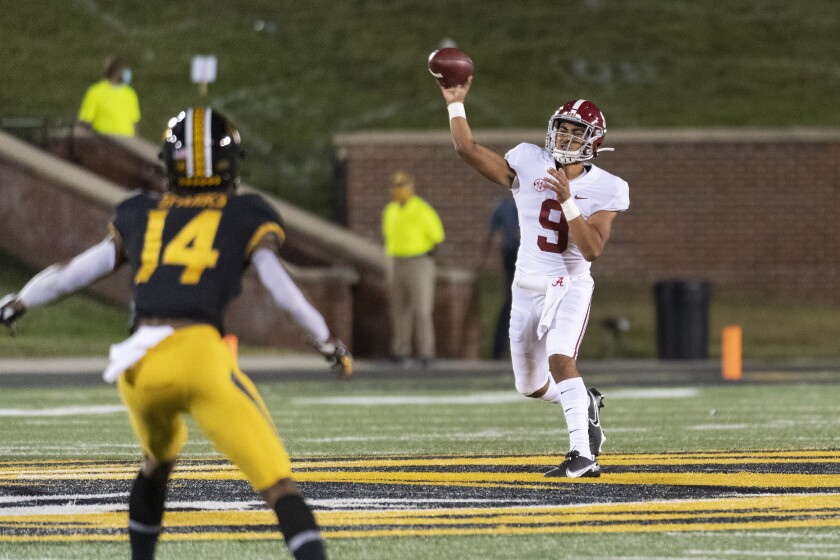 Bryce Young throws a pass against Missouri.