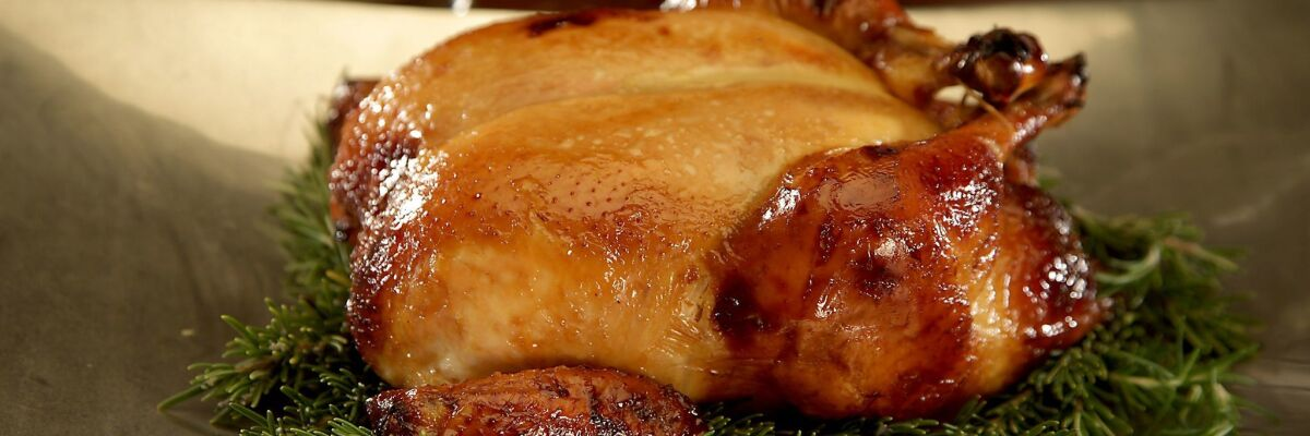 Honey-bourbon roast chicken