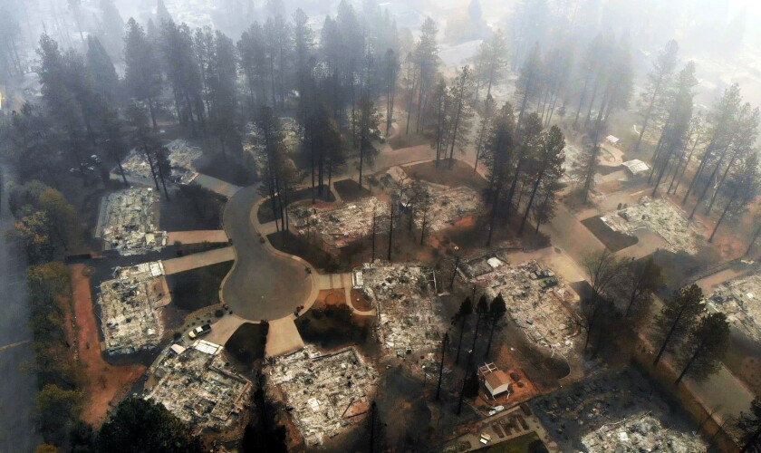 A Paradise, Calif., neighborhood destroyed in the Camp fire in 2018.