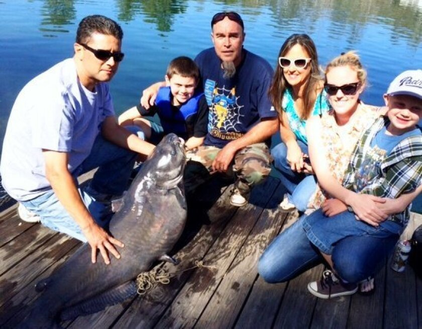 Big Sunday for the Bob Bowden family as the family celebrates his catching of a 71.3-pound blue catfish, the new lake record at Lake Jennings.