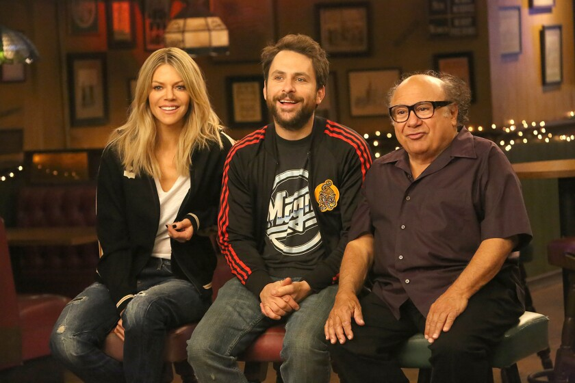 "Kaitlin Olson, left, Charlie Day and Danny DeVito costar in a new season of ""It's Always Sunny in Philadelphia"" on FXX."