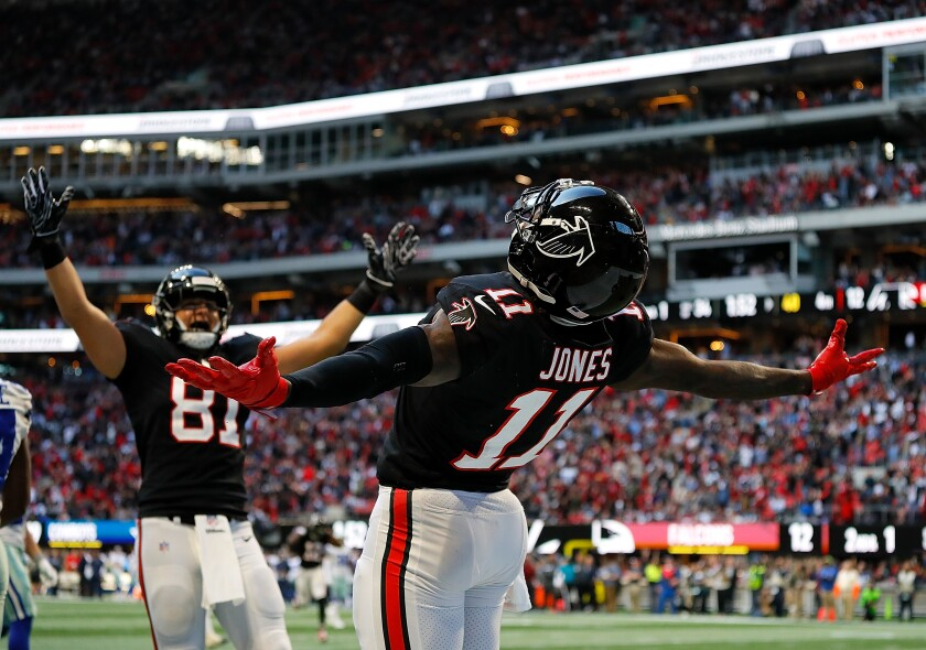 Over the last five seasons, Julio Jones (11) has averaged almost 105 receptions and 1,600 receiving yards per season, but only an average of six touchdowns for the Atlanta Falcons.